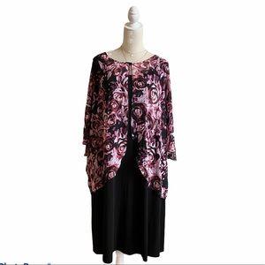 Connected App Dress Black Pink Chiffon Floral Cape